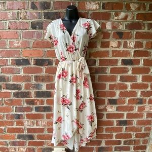 Dream of Me Cream Floral High Low Dress